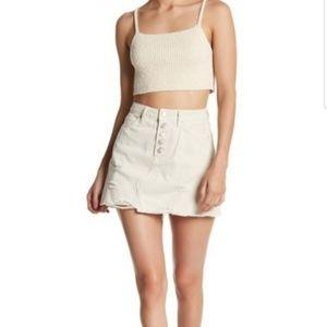 Free People Button Denim mini skirt Off White 30